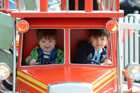 Opening of the Thomas Land Expansion at Drayton Manor Theme Park. From left is Caelan McCourt, 3, and Etienne Ouillon, 3, from Coventry.