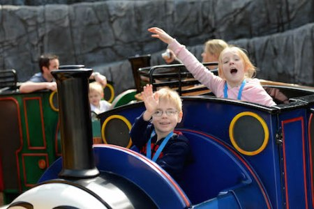 Opening of the Thomas Land Expansion at Drayton Manor Theme Park. From left is Maxwell Booker, 4, and Maisie Booker, 8, from Long Eaton.