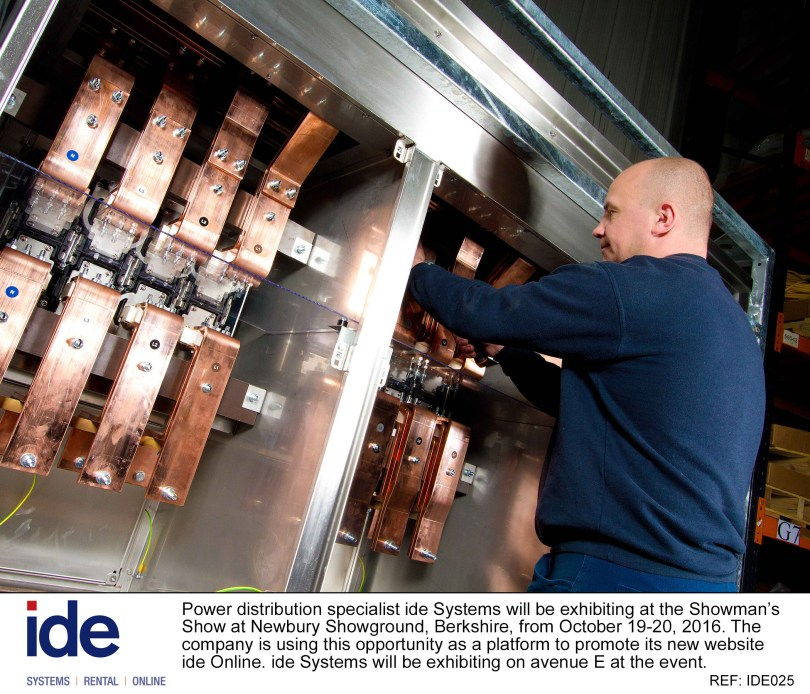 Power distribution specialist ide Systems will be exhibiting its range of electrical equipment for the event industry at this year's Showman's Show in Newbury Showground, Berkshire.