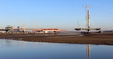 MSS Trinity in its final casting position and the Mersey Gateway north pylon