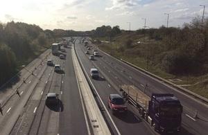 Wider Lanes For drivers On M62 Smart Motorway Near Rochdale