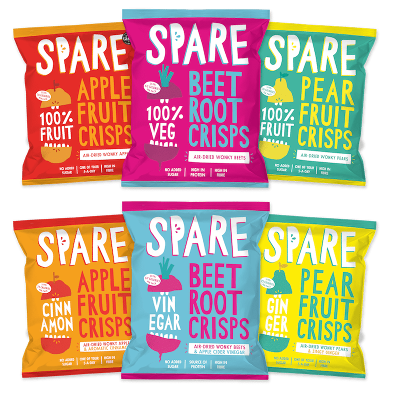 """WONKY VEG PIONEERS REBRAND AND LAUNCH NEW SEASONED FRUIT & VEG CRISP RANGE Spare Snacks (www.sparesnacks.com) is a disruptive start-up brand on a mission, to take unloved wonky fruit and veg and turn them into delicious, healthy snacks that are great for people, producers and the planet. Now with added crunch, January 2019 sees Spare reformulate and rebrand their Great Taste Award winning Pure range of 100% Apple, Pear and, brand new, Beetroot Crisps; alongside the launch of an innovative new healthily Seasoned range, Pear & Ginger, Apple & Cinnamon and Beetroot & Apple Cider Vinegar Crisps to Co-op, Planet Organic and Ocado (RRP £1.10 per 22g bag). Spare want to perfect the way healthy snacks are created and consumed. Key to the crunch, taste and health profile of the premium tasting snacks, all of Spare's crisps are air-dried, never fried. Spare only use fruit and veg that is going spare – wonky, misshapen or otherwise unloved, surplus produce, to support farmers and to make the best of ALL fresh, tasty produce; Spare want to spread the word that oddly shaped, discoloured or blemished produce has real value by creating amazing award-winning products. Spare Snacks are all under 77Kcals per bag, making them just pear-fect for anytime healthy snacking, indulgent dipping or adding crunch to salads, cereals or lunch boxes; they're a convenient pre and post workout snack; and the new Beetroot snacks even pair beautifully with craft beers and cocktails. The crisps are vegan, gluten free and high in fibre too, so seriously satiating. Known for its superfood properties, the new Beetroot Crisps are also a great source of protein, potassium and folic acid. Founded by father of two Ben Whitehead in 2016, Spare care deeply about their products, their provenance and the impact they have on the environment around them and are always pushing for the foremost in quality. Ben says, """"Since day one we've been all about creating the highest quality snacks that make people smile, using"""