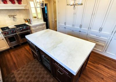Misty White Marble Kitchen Countertops