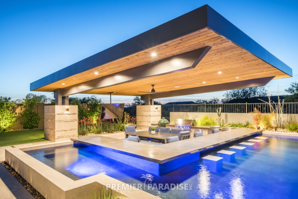Custom Pool with Cantilevered Outdoor Kitchen | Scottsdale ... on Outdoor Kitchen With Pool Ideas id=71414
