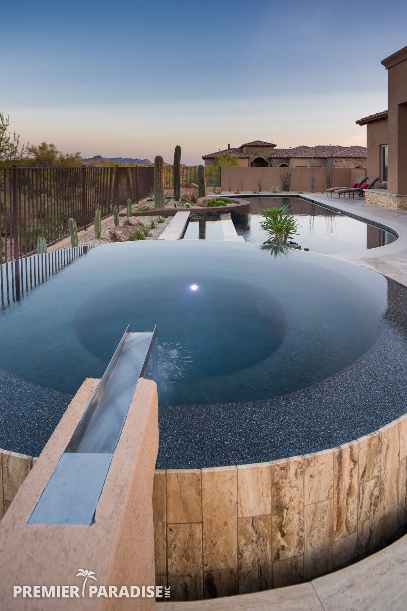 Modern Perimeter Overflow Spa Amp Luxury Pool Scottsdale