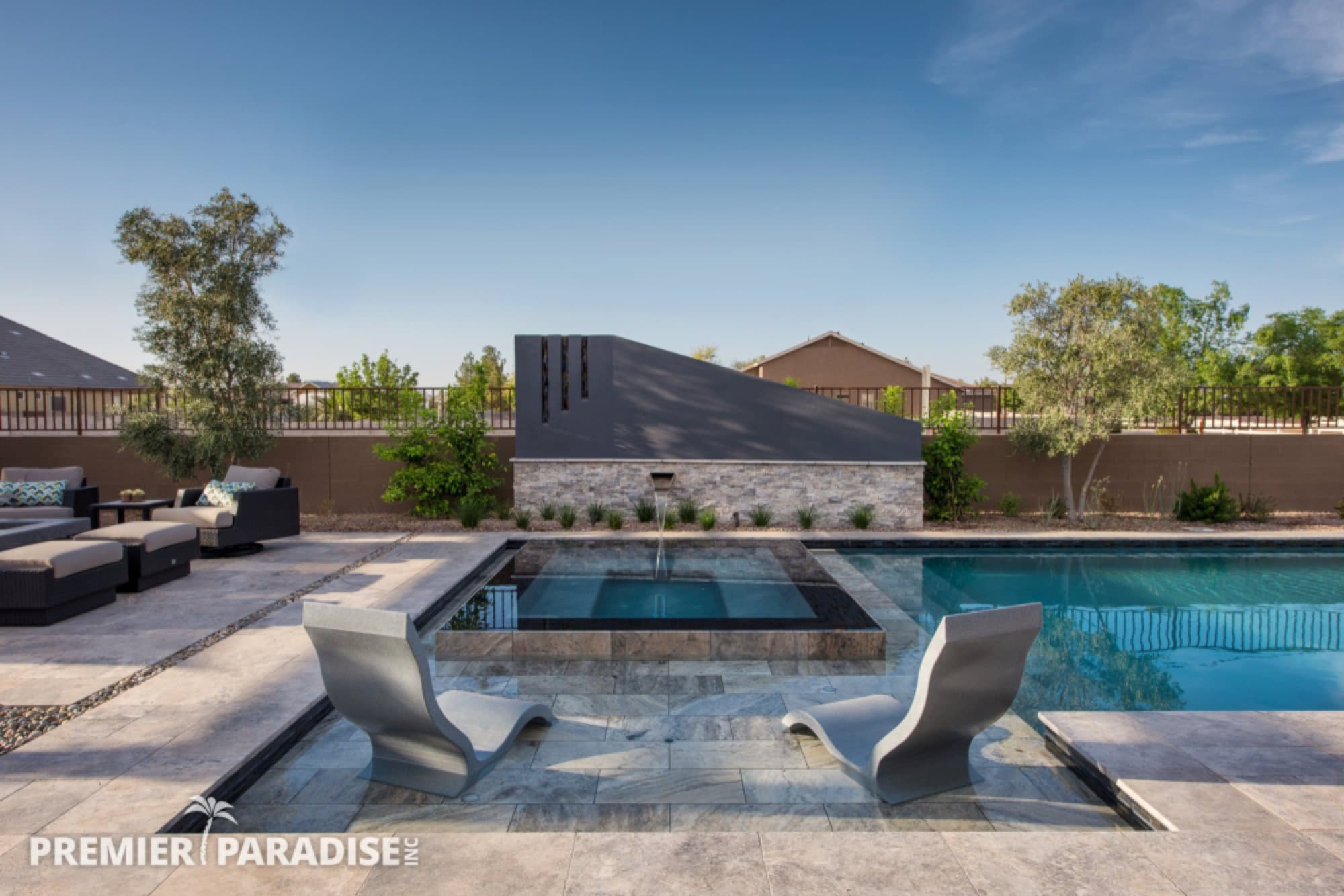 Modern Perimeter Overflow Spa & Luxury Outdoor Living ... on Outdoor Living Spa id=83118