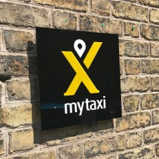 My Taxi acrylic plaque with raised lettering