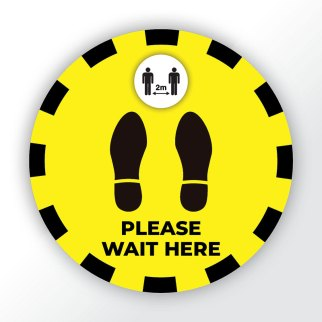Covid-19 Please Wait Here Floor Sticker