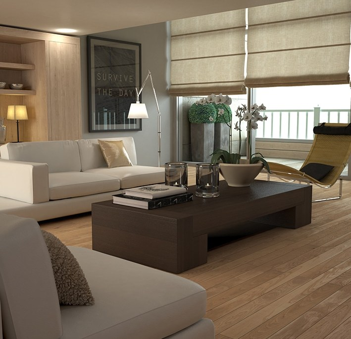 Sleek contemporary beige interior of house