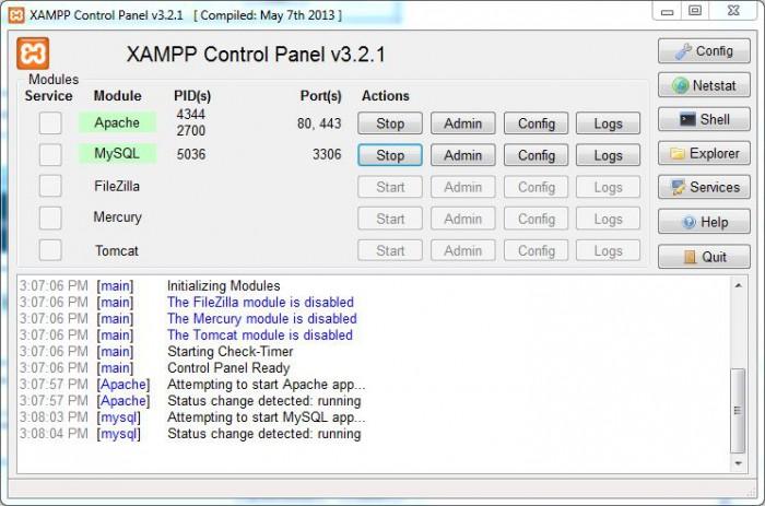 XAMPP running smoothly...