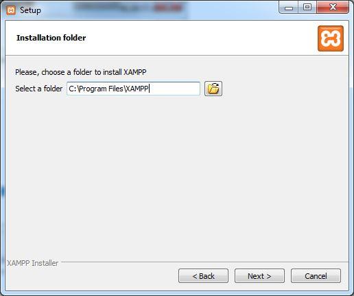 XAMPP select folder