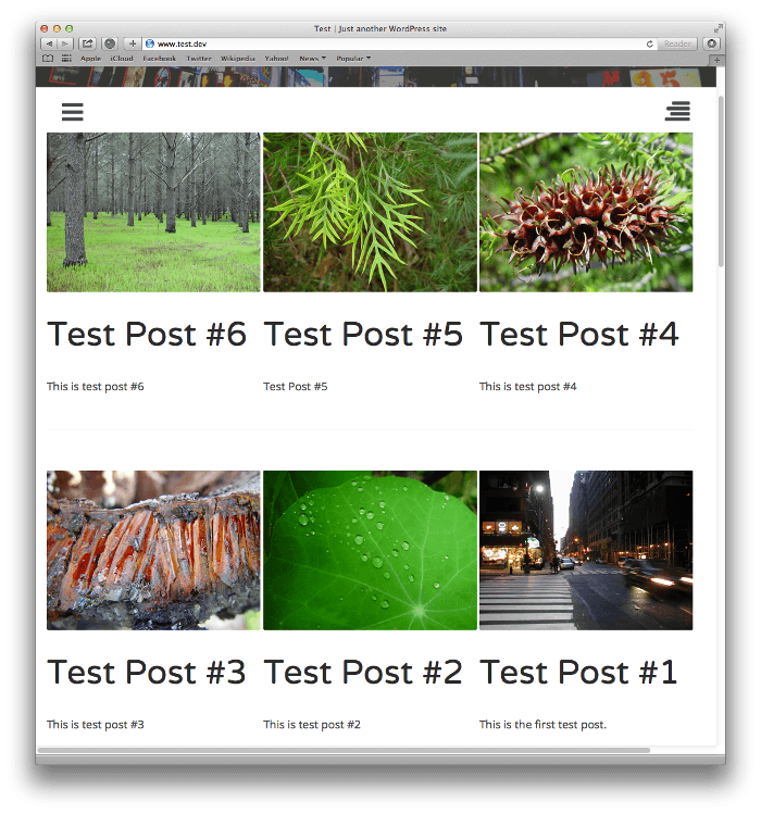 Screenshot of post listings using grid styling