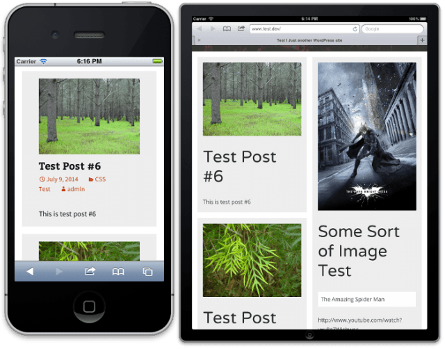 Screen shots of masonry layout on an iPhone (1 column) and iPad in portrait mode (2 columns)