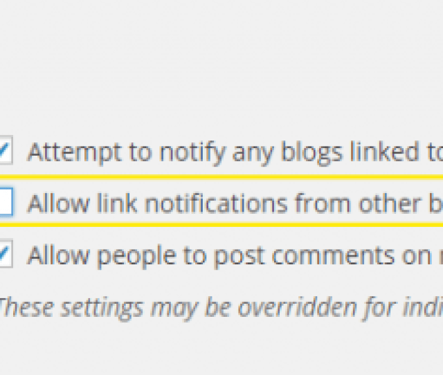 The Settings Discussion Page The Allow Link Notifications From Other Blogs Pingbacks