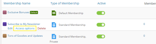 Access options on the Membership 2 > Memberships page.
