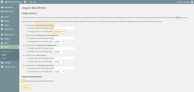 Importer Content Attribution Options.