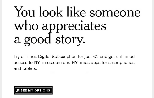 The New York Times asks readers to subscribe after reading 10 free articles.
