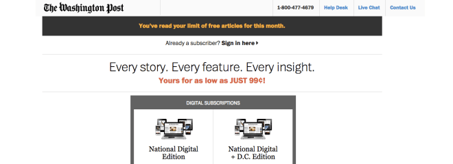 The Washington Post uses a metered paywall to encourage readers to subscribe for more access to content.