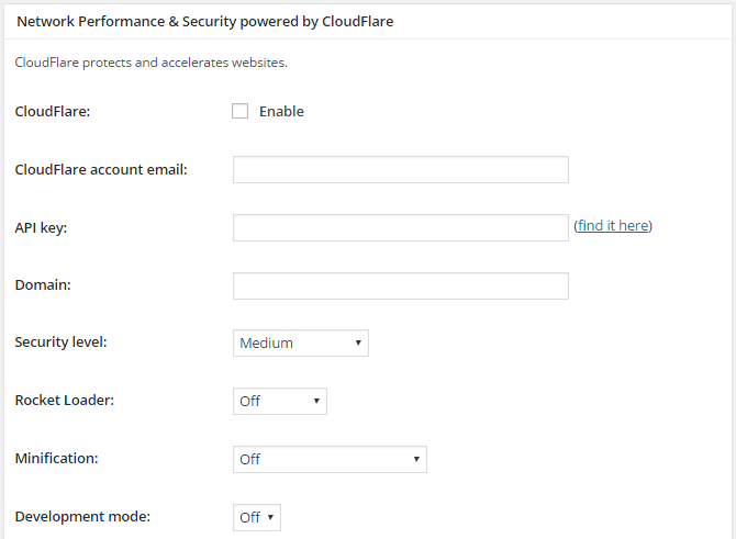 screenshot of cloudflare extension settings in general settings menu in w3tc