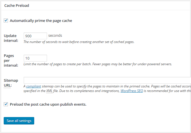 screenshot of page cache options in w3tc