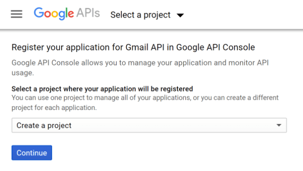 Screenshot of Gmail Register API Project