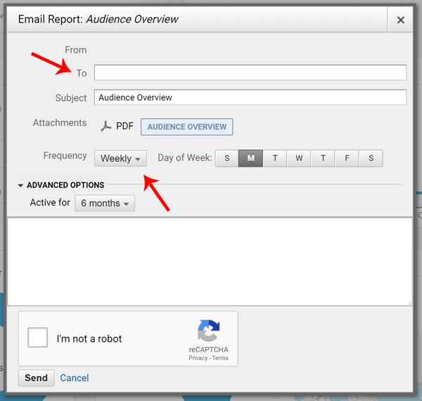 Screenshot of how to configure Google Analytics Send Email with PDF Report
