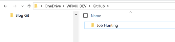 Screenshot of Job Hunting Folder in Windows File Manager