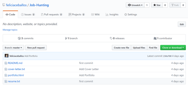 Screenshot of Job Hunting repo on GitHub