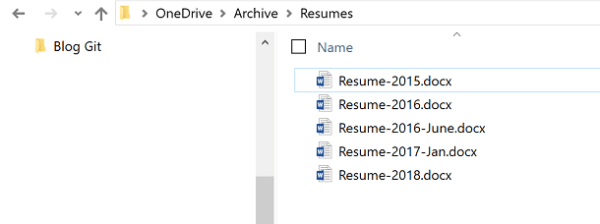 Screenshot of list of resumes in file manager