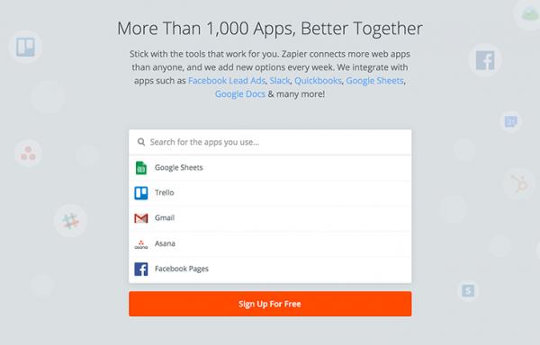 Zapier web app integrations
