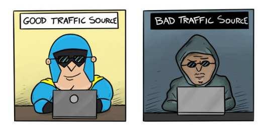 Cartoon of DevMan and Hacker working on laptops.