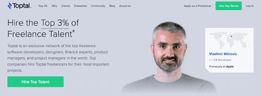 Toptal homepage.