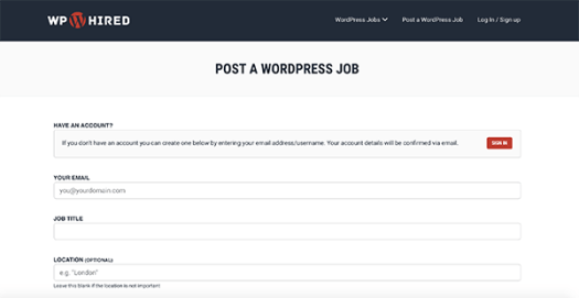 Where you'll sign in to post a job once an account is created in WP Hired.