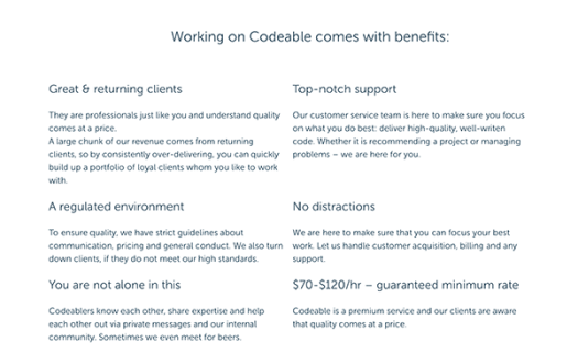 Codeable benefits.