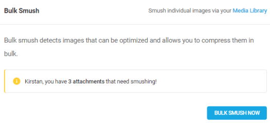 Screenshot of bulk smush showing that there are three images in need of smushing.