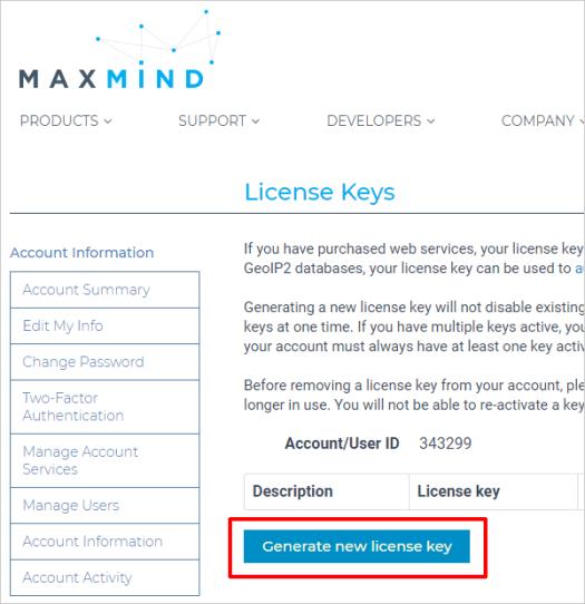Maxmind - Generate license key
