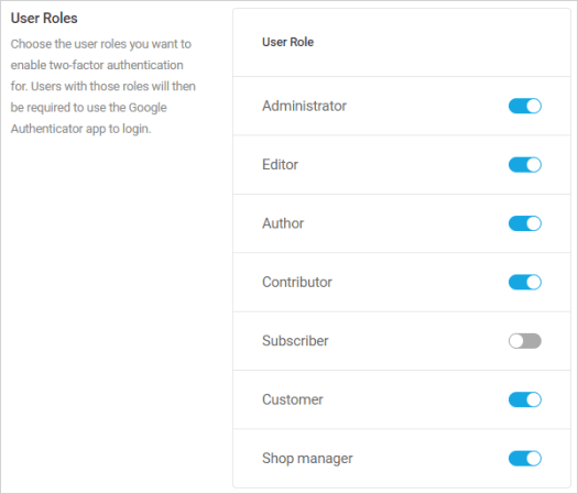 2FA-User roles section