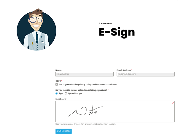 Example form with e-signature.