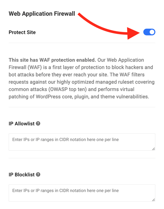 Where you can enable WAF in the Hub.
