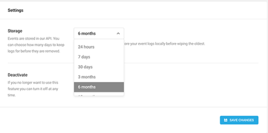 Where to specify how long you'd like to keep events stored.