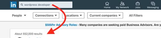 LinkedIn WordPress results.