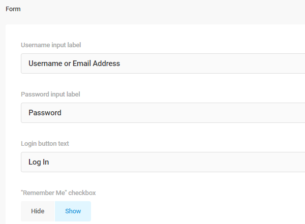 Screenshot of the form labels and the options which allow you to change the text.
