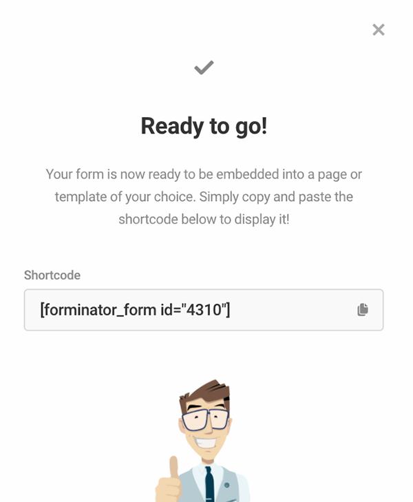 Forminator shortcode.