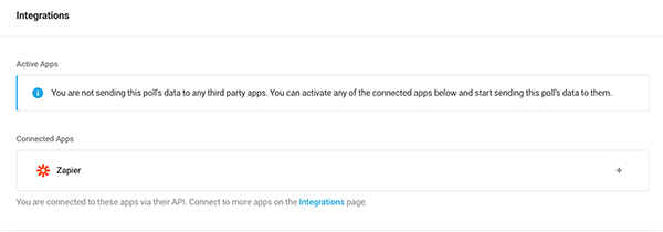 Where you add poll integrations.