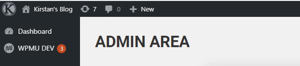Screenshot of the admin bar with a custom logo in it