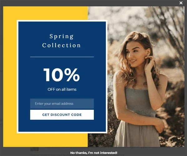 Hustle email opt-in form template - spring sale.
