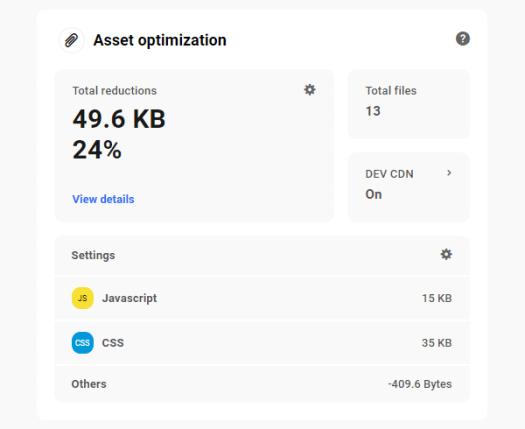 The Hub: Performance tab - Asset optimization.