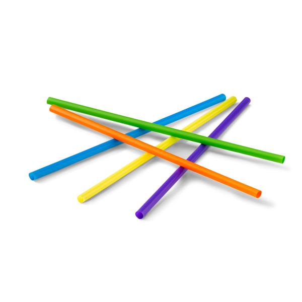 Gekleurde rietjes van plastic in de keuren blauw, paars, rood, geel en groen. De diameter van de rietjes zijn 7,5mm en de lengte 23cm