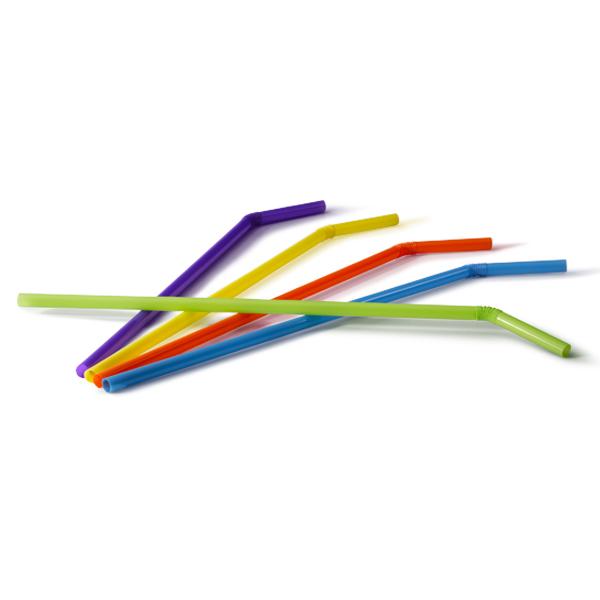 Gekleurde buigrietjes van plastic in de keuren blauw, paars, rood, geel en groen. De diameter van de rietjes zijn 6mm en de lengte 24cm