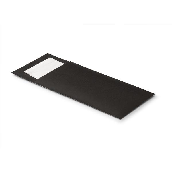 Bestek servet zakje zwart inclusief een witte 2 laags servet